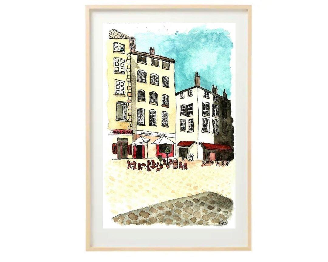 aquarelle-place-vieux-lyon